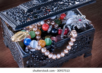 a box full of jewelry