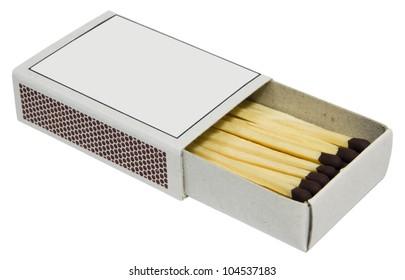 Box full of matches on white background.