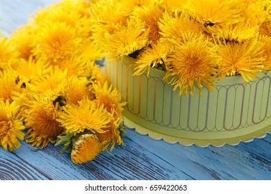 Box full of yellow flowers