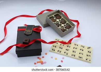 box gift and chocolate