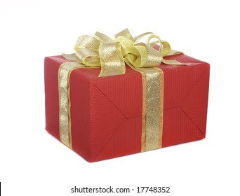 Box with a gift on a white background