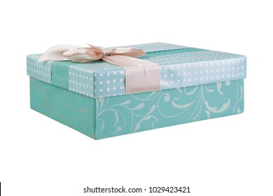 box for gifts, beautiful design, box closed with lid, isolated on white background isolate