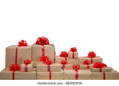 Box with gifts and red bow