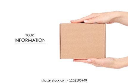 Box in hand pattern on white background isolation