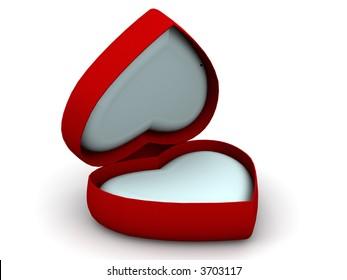 Box as heart. 3d