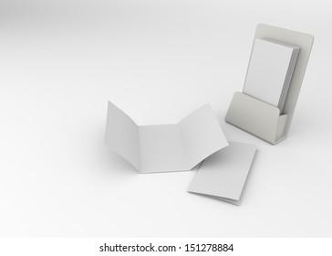 box holder with leaflets or fliers. 3d render