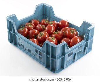 box from market with fresh tomatoes