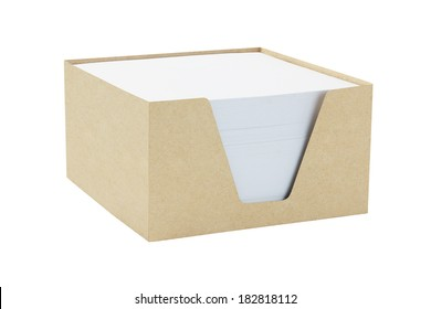 Box Of Memo Papers On White Background