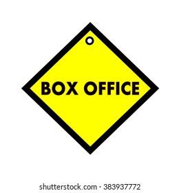 BOX OFFICE black wording on quadrate yellow background