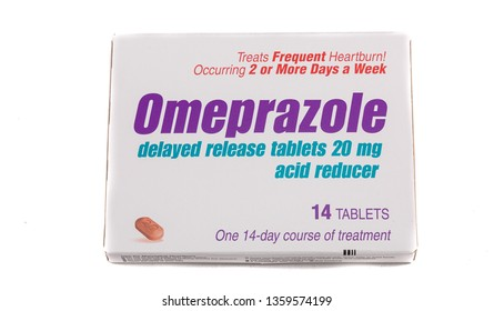 A Box of Omeprazole acid reducer medicine in a box on a white background