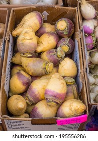 Box of organic rutabaga for sale at local farmers market.