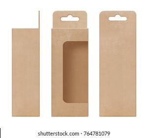 box, packaging, box brown for hanging cut out window open blank template for design product package