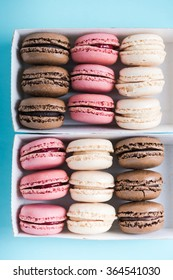 Box of pastel macaroons from above