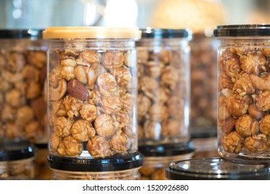 Box plastic of popcorn coated with caramel for sell in cafe