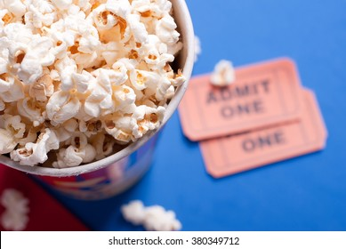 box of popcorn, tickets