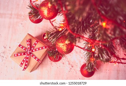 box for present, xmas background, stock photo