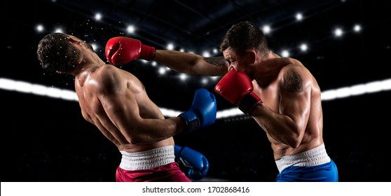 Box professional match on dark background. Two image of the same model. Mixed media