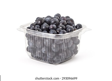 Box or punnet of fresh ripe organic blueberries on a white background