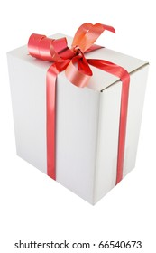 box with the ribbon under the white background