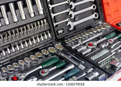 Box with set of tools for car repair closeup