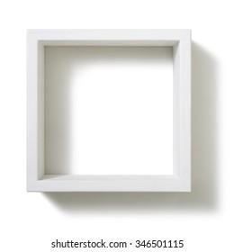 Box shelf isolated on white background.