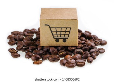 Box with shopping cart logo symbol on coffee beans  : Import Export Shopping online or eCommerce delivery service store product shipping, trade, supplier concept.
