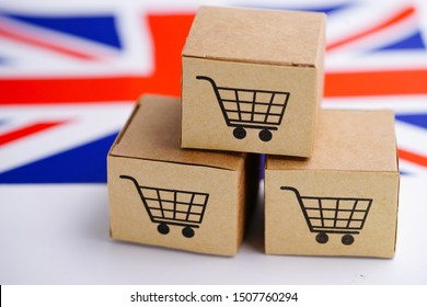 Box with shopping cart logo and United Kingdom flag : Import Export Shopping online or eCommerce finance delivery service store product shipping, trade, supplier concept.