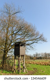 Box stand at a tree in a meadow