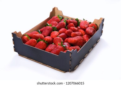 Box of strawberries on white background