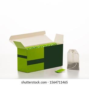 Box with tea. Tea bags.