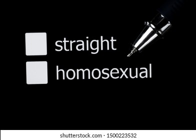A box to tick off your choice between straight and homosexual. Squares on a black background.