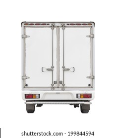 Box truck or box van back view isolated on white background, Cargo box or steel box for storage and transport cargo and high volume of goods product, Small cargo container delivery service.