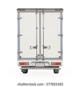 Box truck or box van back view isolated on white background, Cargo box or steel box for storage and transport cargo and high volume of goods product, clipping path include in file.