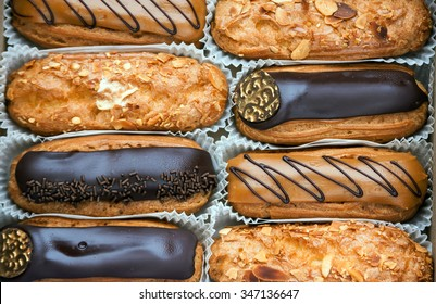 A box with variety of eclairs