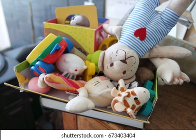 Box of various toys