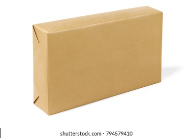 Box Wrapped With Brown Paper on White Background