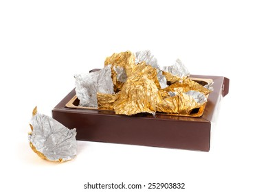 box and wrappers from chocolates