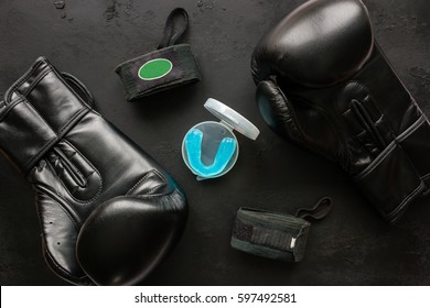 Boxer accessories - gloves, bandages, mouth guard