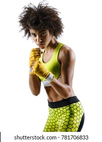 Boxer in defensive stance looking fierce. Photo of strong african girl posing in silhouette on white background. Sports