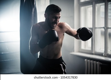 Boxer preparing for a hard fight.