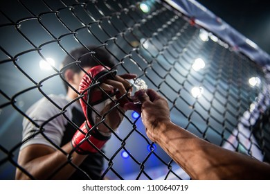 the boxer put the teeth guard through the cage