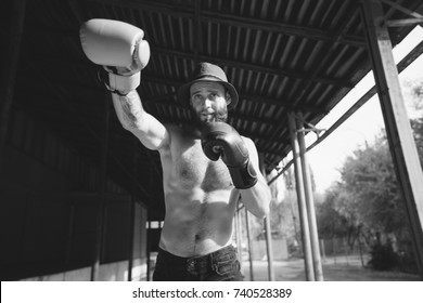 The boxer is ready to deal a powerful blow. Photo of muscular man. Strength and motivation.Bearded young hipster boxer.