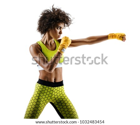Boxer woman making direct