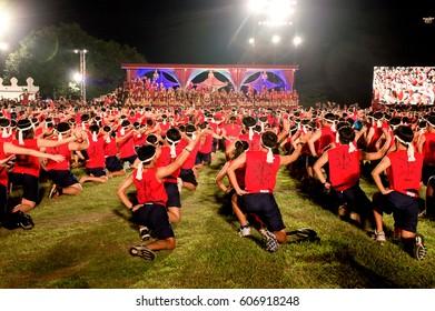 Boxers were gathered in world Wai Kru Muaythai ceremony in Ayutthaya, Thailand on 17 March 2017