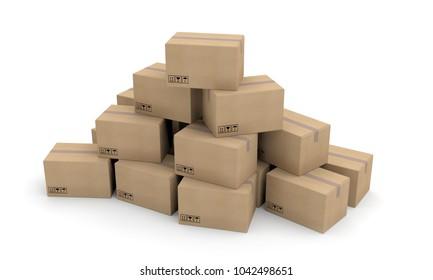 boxes carton packages transport 3D illustration