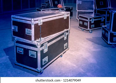 Boxes with concert equipment. Transportation equipment. Boxes on wheels.
