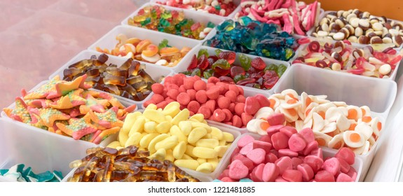 Boxes with different, colorful candies