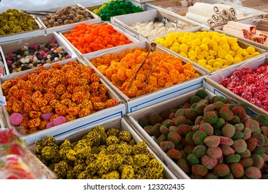 Boxes full of colorful sweets
