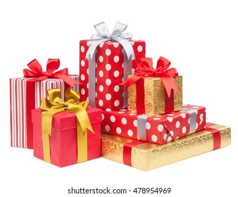 Boxes with gifts and ribbons isolated on white background