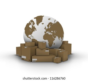 Boxes and globe. Elements of this image furnished by NASA